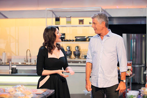 Nigella Llawson and Anthony Bourdain on the set of cooking comeptition show 'The Taste'. Nigella said that she was heartbroken to hear about Anthony's death.