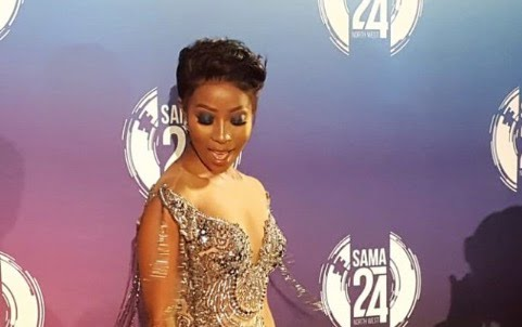 Pearl Modiadie dazzled on the Samas red carpet.